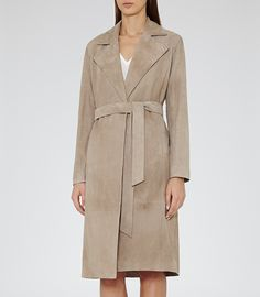 Womens Neutral Suede Trench Coat - Reiss Yuki
