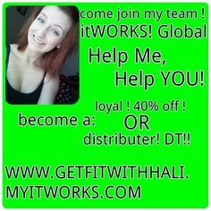 """Hey! My name is Hali and I'm ready to CHANGE LIVES! Are you looking to tighten, tone, and firm up your body? How about joining in on all the hype with our ENERGY drinks and drink mixes?! Would you like our """"botox in a tube"""" eye and lip enhancing cream?! We have vitamins, we have greens, we have things many people haven't seen! If you or anyone you know is interested in trying ANY itWorks Global product, contact me PERSONALLY at hail.johnson001@gmail.com or visit my website at…"""