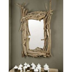 twig mirror (DIY style) for the bottom of the stairs