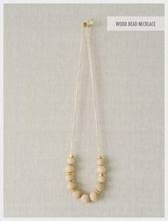 DIY: simple wood bead necklace