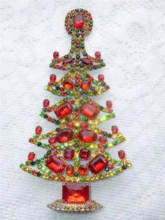 AMAZING VINTAGE MULICOLOR CZECH RHINESTONE CHRISTMAS TREE STANDING