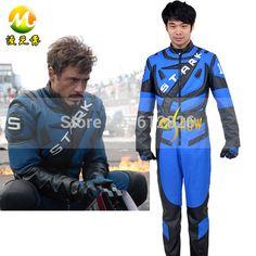 Iron man kostuum volledige sets super held motorfiets kleding pu leer de koele held kostuums iron man blauw xxs-3xl(China (Mainland))