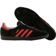Adidas Samba shoes in black and university red Running Sneakers, Adidas Sneakers, Adidas Fashion, Mens Fashion, Samba Shoes, Rocker Look, Adidas Samba, Mens Clothing Styles, Black Adidas