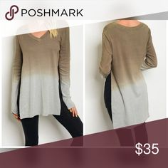 Cocoa and gray spilt side sweater! Darling fit Beautiful color combination with side slits- hi lo - in a super soft light sweater material Sweaters V-Necks