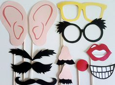 Photobooth props... eyebrows, ears, noses & more.