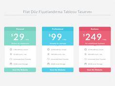 Flat Düz Fiyatlandırma Tablosu Tasarımı