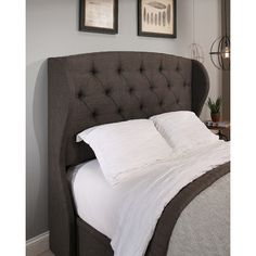 For a cozy, elegant bedroom retreat, add this Republic Design House Archer Wingback Upholstered Headboard . The classic wingback design is softened. Bookcase Headboard, Wingback Headboard, Headboards, Tufted Sofa, Cal King Headboard, California King Headboard, Bed Styling, Bedroom Furniture, Bench Furniture