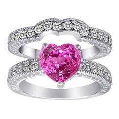 Pink Heart Shape Engagement Ring ( i would change the color to blue or something. not into the pink)