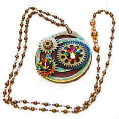 ON SALE Steampunk Jewelry, Watch Parts Pendant, Brass Bead Chain,... (£26) ❤ liked on Polyvore featuring jewelry, pendant necklace, beaded pendant necklace, magnetic jewelry, round pendant necklace and swarovski crystal pendant necklace