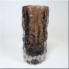 """Whitefriars cinnamon glass cylindrical 6"""" 'Bark' vase, from the 'Textured' range, designed by Geoffrey Baxter, pattern number 9689."""