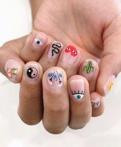 Edgy Nails, Funky Nails, Swag Nails, Nail Design Stiletto, Nail Design Glitter, Nail Art Designs, Mens Nails, Colorful Nail, Fire Nails