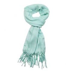 """Hemstitched mint scarf with knotted fringe.     Product: ScarfConstruction Material: RayonColor: MintFeatures:  Light and layerableDetailed with hemstitching and a knotted fringe Dimensions: 22"""" x 72""""Cleaning and Care: Dry clean"""