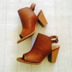 LC Lauren Conrad for Kohl's Peep Toe Booties in Cognac
