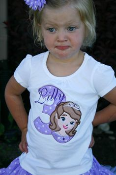 Princess Sofia the first birthday shirt, Personalized, Embroidered, Appliqued, Monogrammed on Etsy, $28.00