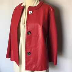 JONES NEW YORK GENUINE LEATHER  SWEATER JACKET Very nice sweater jacket with real leather front and knitted wool back and sleeves  Size S but fits best to size M or 8-10 No any visible signs marks of wearing Jones New York Sweaters