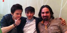 Tom Riley (Leonardo da Vinci), Blake Ritson (Count Riario) and composer Bear McCreary on a press tour for Da Vinci's Demons (2013)