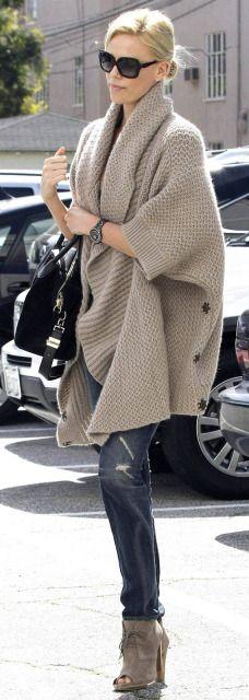 Oversized Knit Cardigan , Denim and Heels