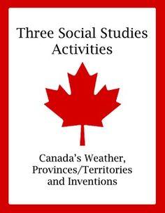 Set of 3 Social Studies Activities - Canada (Weather, Prov