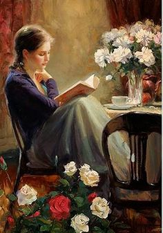 woman reading by Vladimir Volegov Reading Art, Woman Reading, Reading Books, Vladimir Volegov, Illustration Art, Illustrations, Character Illustration, Beautiful Paintings, Oeuvre D'art