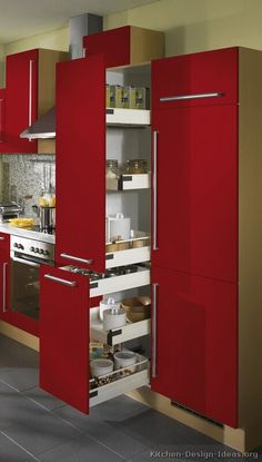 #Kitchen of the Day: Modern Red Kitchens. Pull-out pantry (by ALNO, AG)