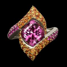 Starlette Lily Ring by Adam Neeley with a 4.32 ct pink spinel center stone accented by pink and orange sapphires Modern Jewelry, Jewelry Art, Jewelry Design, Jewellery, Sapphire Jewelry, Rose Gold Jewelry, Women's Rings, Gold Rings, Orange Sapphire