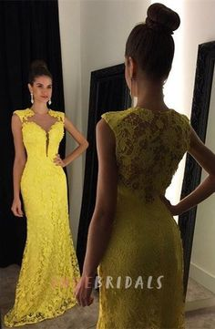 Delicate Yellow Lace 2016 Prom Dress Mermaid Sweep Train Homecoming Dresses  Long 2e3962ee4883