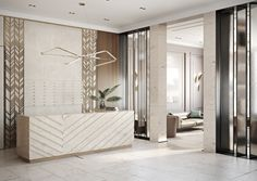 I like the textured wall accent and the modern desk Dental Office Design, Office Interior Design, Office Interiors, Reception Desk Design, Lobby Reception, Office Reception, Hotel Lobby Design, Partition Design, Counter Design