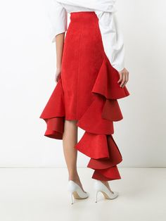 Jacquemus asymmetric ruffled trim skirt Pretty Dresses, Sexy Dresses, Skirt Outfits, Cute Outfits, Fashion Project, Red Skirts, Fashion Line, Couture, Skirt Pants