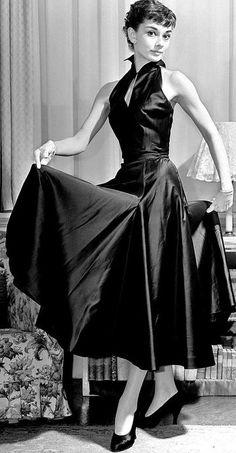Audrey Hepburn in a gorgeous black dress