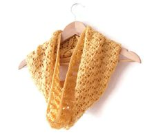 Cowl in sunny yellow hand knitted lace pattern by TheFeminineTouch, £35.24 on etsy