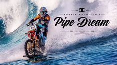 """""""Robbie Maddison's Pipe Dream"""" or how to surf with a motocross in Tahiti. Giant Waves, Huge Waves, Ktm 250, Pit Bike, Tahiti, Surf Biarritz, Dream Video, Pipe Dream, Dirtbikes"""