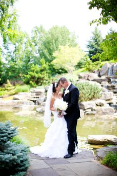 Waterfall Wedding at Frederik Meijer Gardens & Sculpture Park in Grand Rapids Michigan. (Emily Rae Photography)