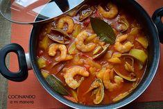 Patatas guisadas a la marinera Güveç yemekleri Goulash, Thai Red Curry, Seafood, Salads, Menu, Diet, Cooking, Ethnic Recipes, Shrimp Recipes