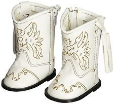 White Western Cowgirl Boots For 18 Inch American Girl Dolls
