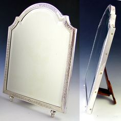 Antique French Sterling Silver Hallmarked Vanity Table Top Mirror, from theantiqueboutique on Ruby Lane