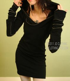 hooded tunic dress/extra long sleeves in BLACK by joclothing