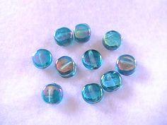 Aqua Green Rainbow Glass Tab Beads 9mm DIY by @dragonflyridge, $3.00