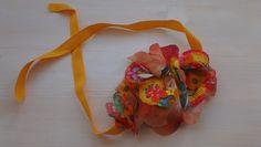 Handmade necklace in soft tissue, ligtht-orange. beatrice.cianfrui@facebook.com