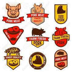 Pork stock photos and royalty-free images, vectors and illustrations Food Logo Design, Food Packaging Design, Logo Food, Butcher Shop, Meat Butcher, Pork Meat, Shirt Maker, Shop Logo, Visual Identity