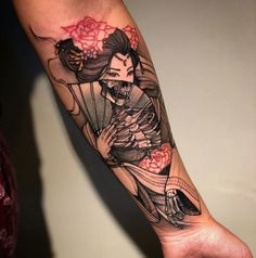 Red Ink Tattoos, Body Art Tattoos, Hand Tattoos, Sleeve Tattoos, Geisha Tattoo Sleeve, Geisha Tattoos, Rib Tattoos, Tattoo Sleeves, Irezumi Tattoos