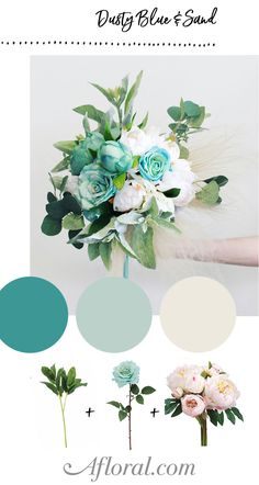 Create your own bridal bouquet with dusty blue and sand flowers from Afloral.com.