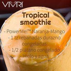 Power Me!™ orange-mango, 1 cup frozen peaches slices, half frozen banana, ice…