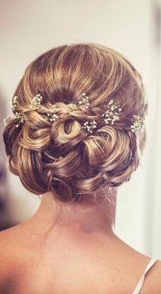 Bridal, vintage updo, gypsophila, baby's breath, intricate