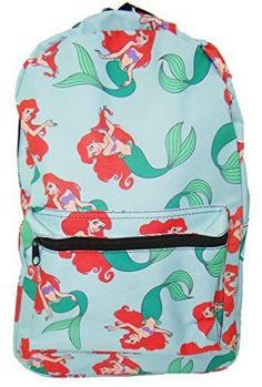 """Ariel Little Mermaid Backpack Standard - Size: Standard - Outer dimensions 17"""" x 12"""" x 5"""" - Sturdy 100% polyester canvas construction w/ zipper closures - Length-adjustable padded shoulder straps - Al"""