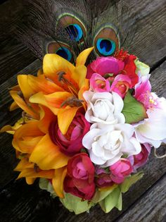 Check out this carnival bouquet..  could use purple and red