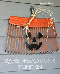 diy fall decor I can't believe my luck finding an old orange metal rake head at a local antiques/consignment shop. I added a wire through the screw holes for hanging. I spray painted the Holidays Halloween, Halloween Crafts, Holiday Crafts, Holiday Fun, Halloween Decorations, Easy Fall Crafts, Halloween Goodies, Thanksgiving Crafts, Halloween Pumpkins