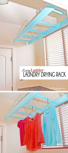 No more wet clothes hanging all over the house! Tame the mess with this easy DIY Ladder Laundry Drying Rack idea! {OneCreativeMommy.com} Step-by-step tutorial #lifehack #laundryroom #dryingrack