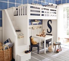 Catalina Stair Loft Bed | Pottery Barn Kids: Love the stairs instead of a ladder