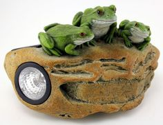 Frogs On Rock Solar Light · Garden FigurinesFrog ...