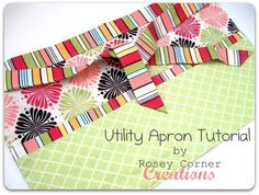 Rosey Corner Creations: Utility Apron Tutorial (add zipper and pocket for business card) Half Apron Patterns, Apron Pattern Free, Dress Patterns, Quilt Patterns, Sewing Patterns, Fabric Crafts, Sewing Crafts, Sewing Projects, Ribbon Projects